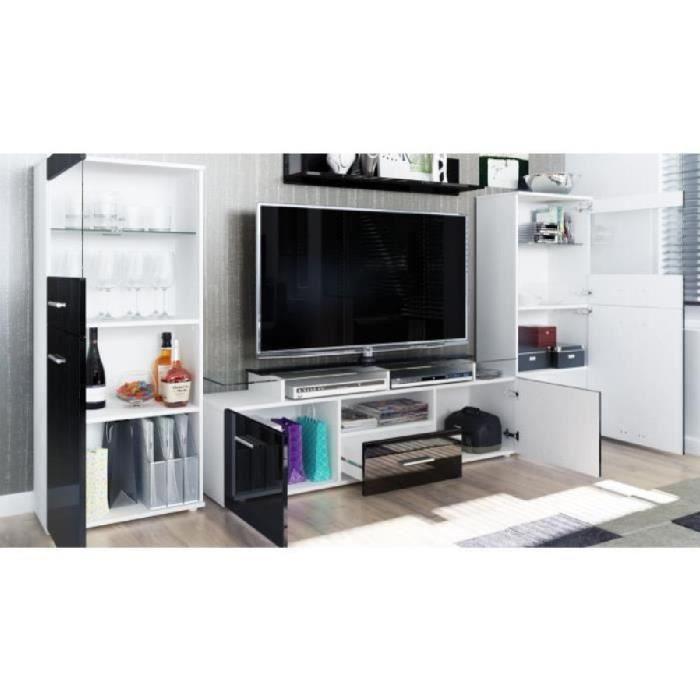 Ensemble 3 meubles tv design noir et framboise 146cm for Ensemble meuble tv design