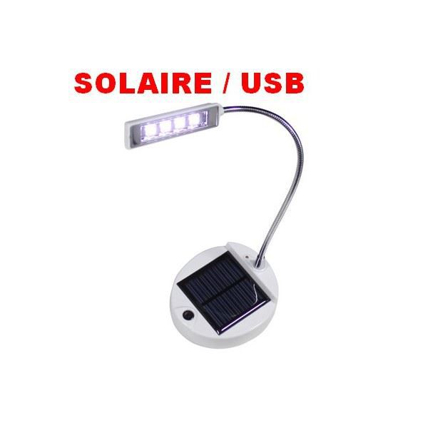 lampe flexible 4 leds avec recharge solaire ou usb achat vente lampe a poser lampe flexible. Black Bedroom Furniture Sets. Home Design Ideas