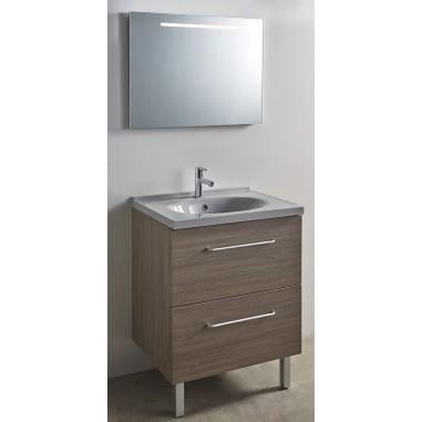 Meuble calao 70 avec plan vasque odessa blanc uni achat vente meuble vasque plan meuble for Meuble salle de bain calao