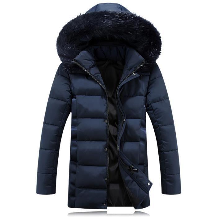 parka fourrure capuche homme noir veste doudoune homme hiver marque coton rembourr blouson. Black Bedroom Furniture Sets. Home Design Ideas