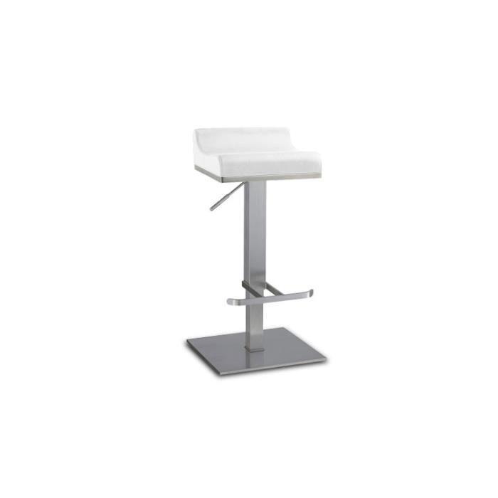Tabouret de bar r glable en inox bross 65 90cm dalllas for Chaise haute pour table