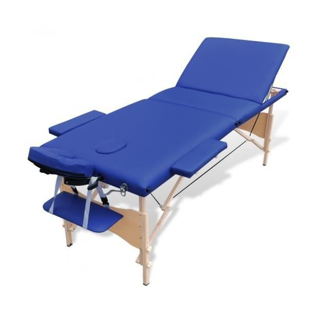 Superbe table de massage pliante en bois 3 zones bleu achat vente apparei - Achat table de massage pliante ...