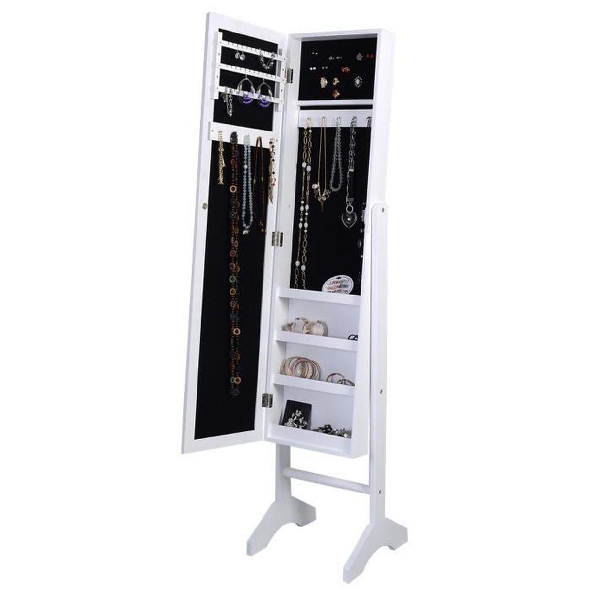 Armoire bijoux sur pied miroir rangement collier bague for Armoire rangement chambre
