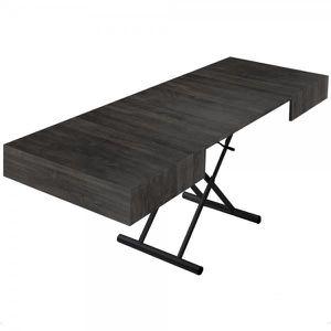 TABLE BASSE Table relevable extensible ella bois vintage noir
