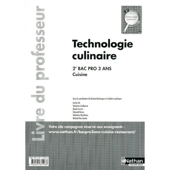 Technologie culinaire 2nde bac pro 3 ans cuisine achat for Technologie cuisine bac pro