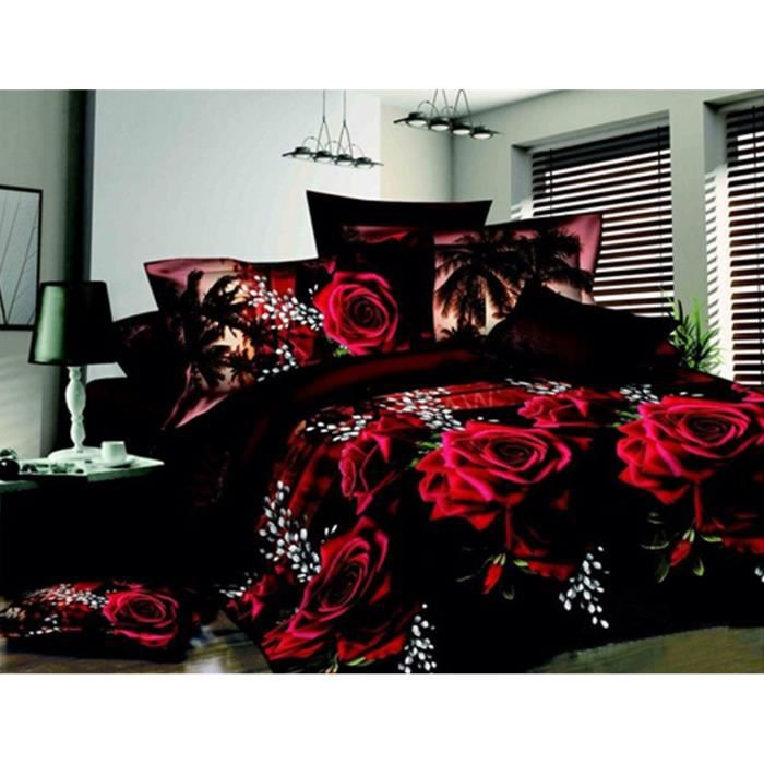 housse de couettes 3d fleur draps de lit couette taies d. Black Bedroom Furniture Sets. Home Design Ideas