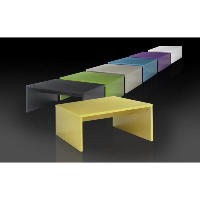 Table basse carr e design lorelis 7 couleurs au choix - Table basse design carree ...