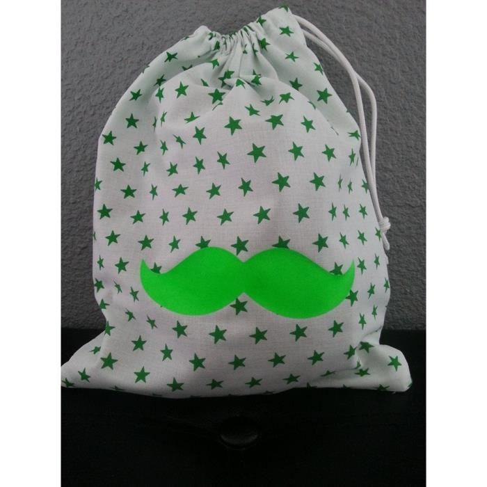 pochon fourre tout bebe theme moustache verte achat vente range pyjama 2009942673936 les. Black Bedroom Furniture Sets. Home Design Ideas