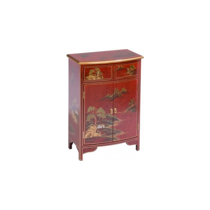 meuble d 39 entr e chinois laque rouge 2 portes 2 tiroirs. Black Bedroom Furniture Sets. Home Design Ideas