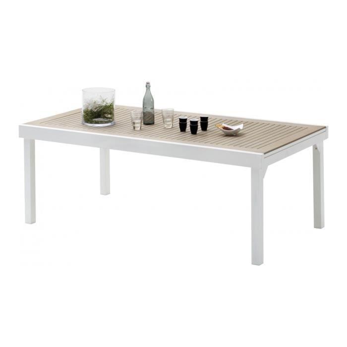 Table de jardin rectangulaire extensible aluminium blanc et polywood l200 achat vente table - Table jardin aluminium la rochelle ...