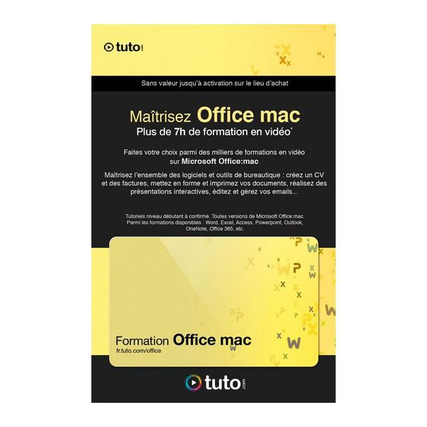 LOGICIEL BUREAUTIQUE  Carte 50 Crédits Tuto Formation Pack Office Mac