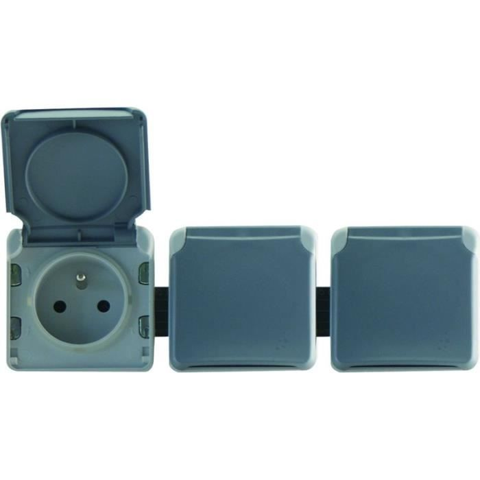 legrand lot de 3 prises de courant 16a composables terre pr bl avec enjoliveur et volet ip55. Black Bedroom Furniture Sets. Home Design Ideas