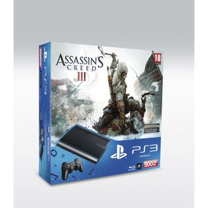 CONSOLE PS3 PACK PS3 SLIM NOIRE 500 GO + ASSASSIN'S CREED 3