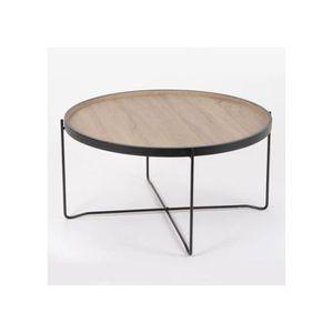 Table basse en bois ronde achat vente table basse en for Table ronde bois et metal