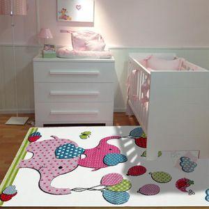 TAPIS Tapis chambre enfant SKY NELEPHANTS rose 80x150, p