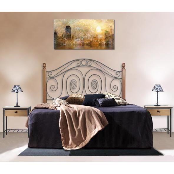 T tes de lit en fer forg avec barres en bois mod le capri t te de lit cou - Modele tete de lit en bois ...