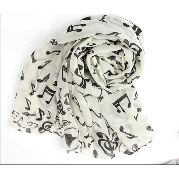 foulard charpe notes de musique cl de sol blanc achat vente echarpe foulard. Black Bedroom Furniture Sets. Home Design Ideas