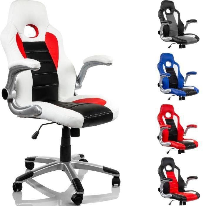 fauteuil de bureau racing blanc noir rouge achat vente chaise de bureau cdiscount. Black Bedroom Furniture Sets. Home Design Ideas