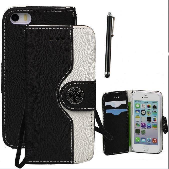 Etui coque housse portefeuille pu cuir noire pour iphone 6 for Housse portefeuille iphone 6