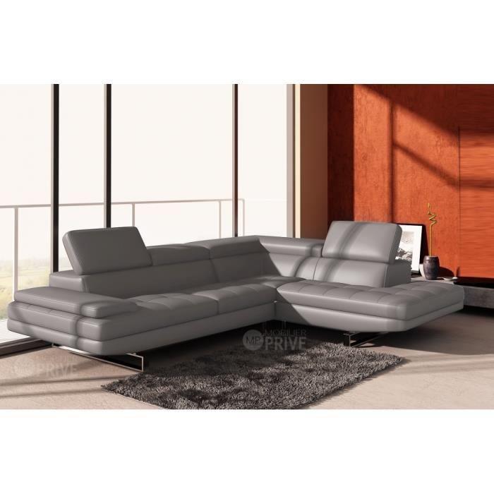 Canap d 39 angle en cuir italien 6 places birkin achat vente canap sofa divan cdiscount Canape d angle italien