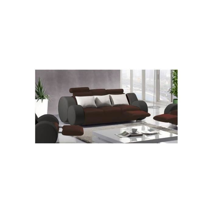 canap cuir 3 places boston assise chocolat c t achat. Black Bedroom Furniture Sets. Home Design Ideas