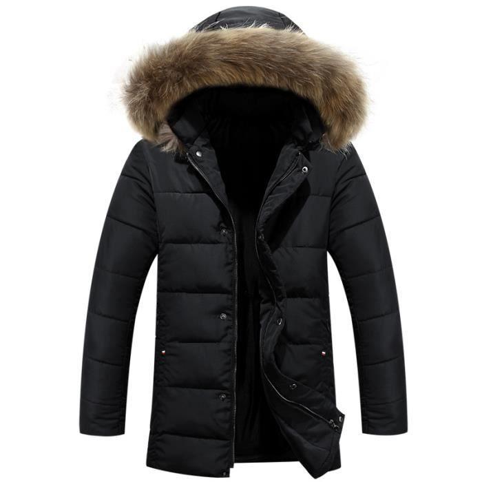 doudoune hommes hiver col en fourrure veste noir noir achat vente parka cdiscount. Black Bedroom Furniture Sets. Home Design Ideas