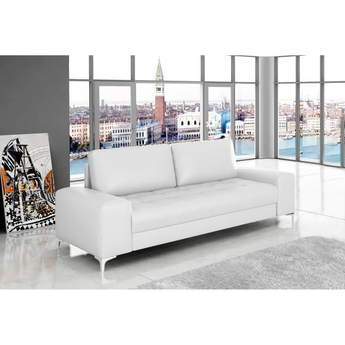 canap 3 places antibes cuir pu blanc achat vente. Black Bedroom Furniture Sets. Home Design Ideas