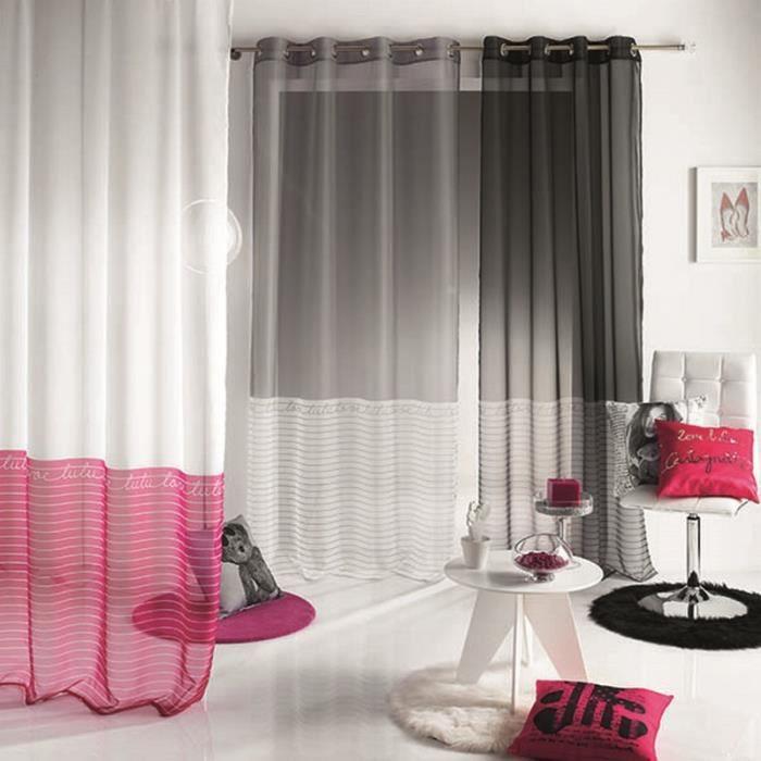 panneau rideau voile oeillet 140x240cm lulu cas achat vente voilage 100 polyester cdiscount. Black Bedroom Furniture Sets. Home Design Ideas