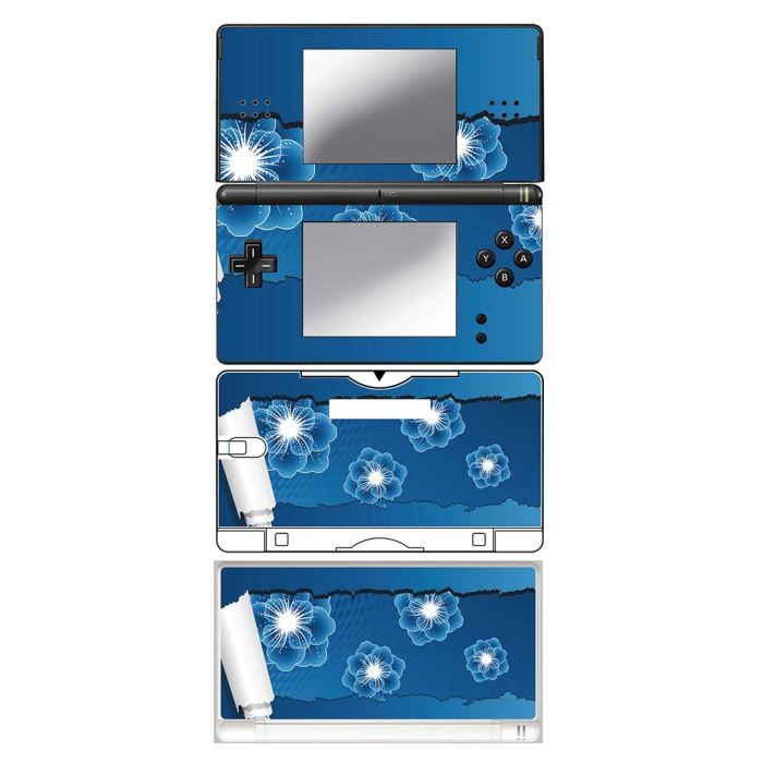 skin stickers pour nintendo ds lite sticker blue flowers with paper achat vente. Black Bedroom Furniture Sets. Home Design Ideas