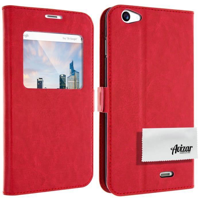 Housse pochette folio fen tre rouge archos 55 helium for Fenetre rouge