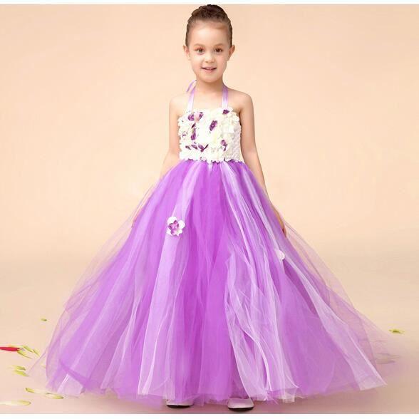 Enfant fille mariage tutu robe f te mousseline c r monie for Robe violette taille plus pour mariage