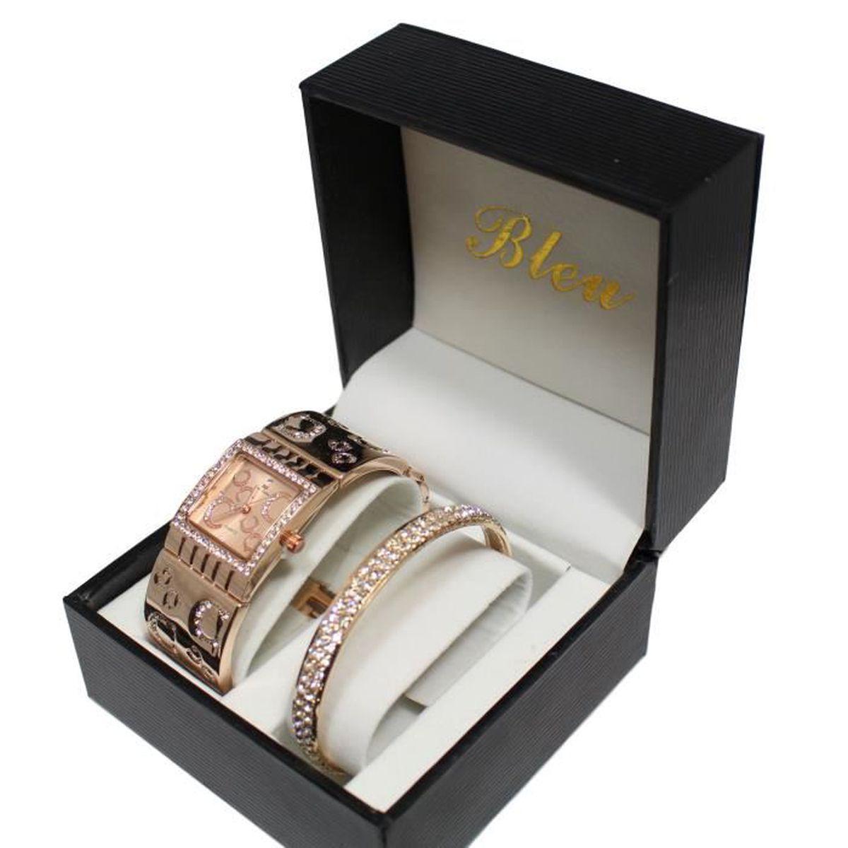 coffret montre femme bijoux gold rose strass bracelet jonc cuivr collection dolce vita. Black Bedroom Furniture Sets. Home Design Ideas