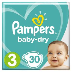 COUCHE PAMPERS Baby Dry Taille 3 - 5 à 9 kg - 30 couches