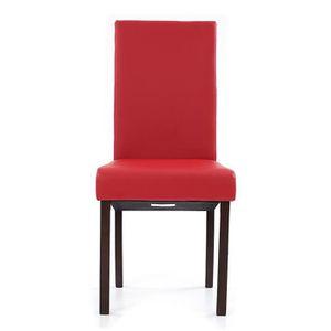CHAISE IKAYAA 2PCS Chaises Haute faux cuir Rouge pour dîn