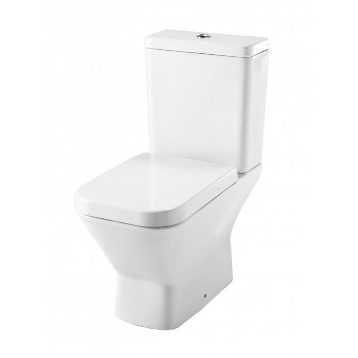 WC - TOILETTE - BIDET Ensemble WC prêt à poser blanc Sortie Horizontale