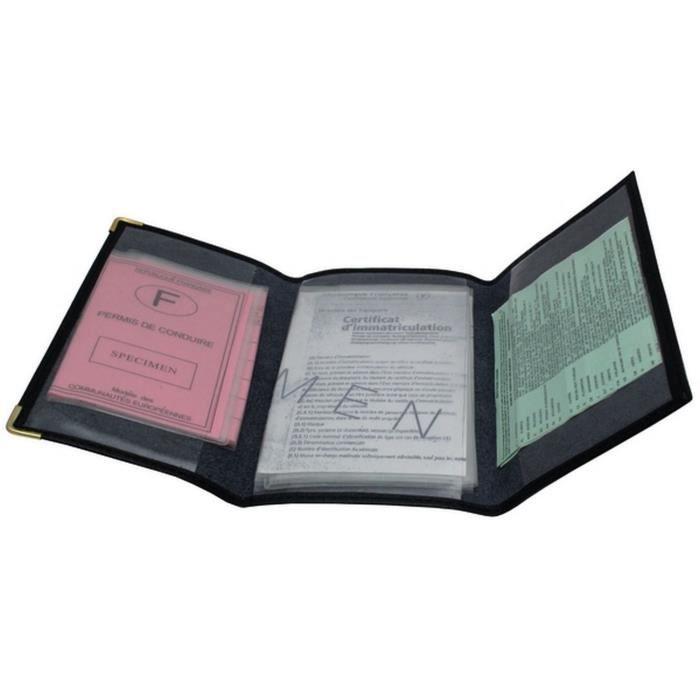 pochette en cuir carte grise permis cartes verte achat vente porte papiers 2009941640939. Black Bedroom Furniture Sets. Home Design Ideas