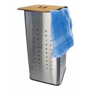 coffre linge inox bross 73 litres couvercle en bois achat vente panier a linge coffre. Black Bedroom Furniture Sets. Home Design Ideas