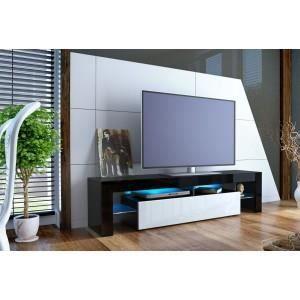 Meuble tv design noir laqu et blanc non noi achat vente meuble tv me - Meuble tv blanc et noir laque ...