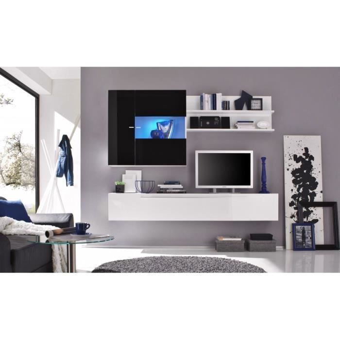 Ensemble meuble tv mural laqu glossy h option achat for Meuble mural gris laque