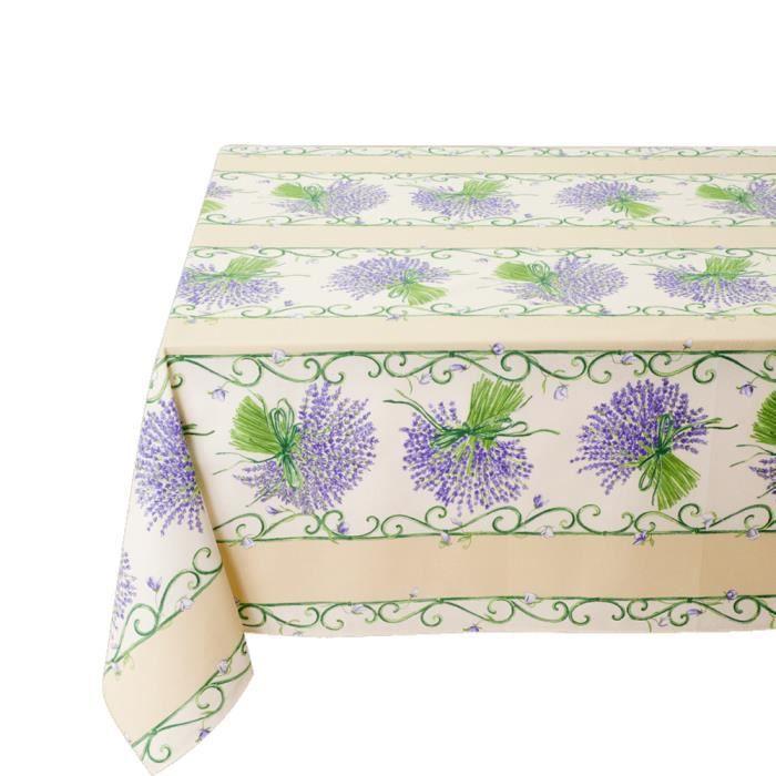 Nappe bouquet de lavande blanc bleu enduite 2m achat for Chemin de table lavande