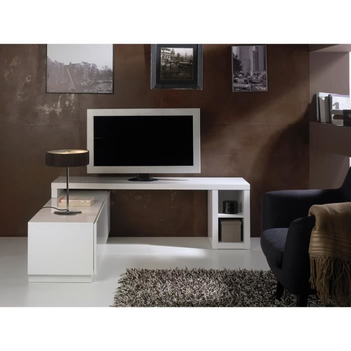 meuble tv modulable aina laqu blanc achat vente meuble tv meuble tv modulable aina l. Black Bedroom Furniture Sets. Home Design Ideas