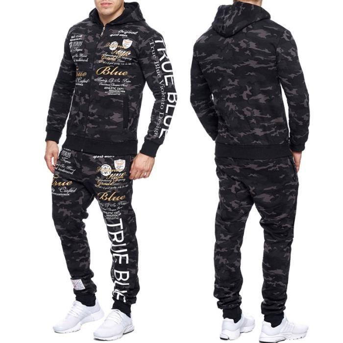 survetement camouflage homme veste et jogging 664 noir. Black Bedroom Furniture Sets. Home Design Ideas