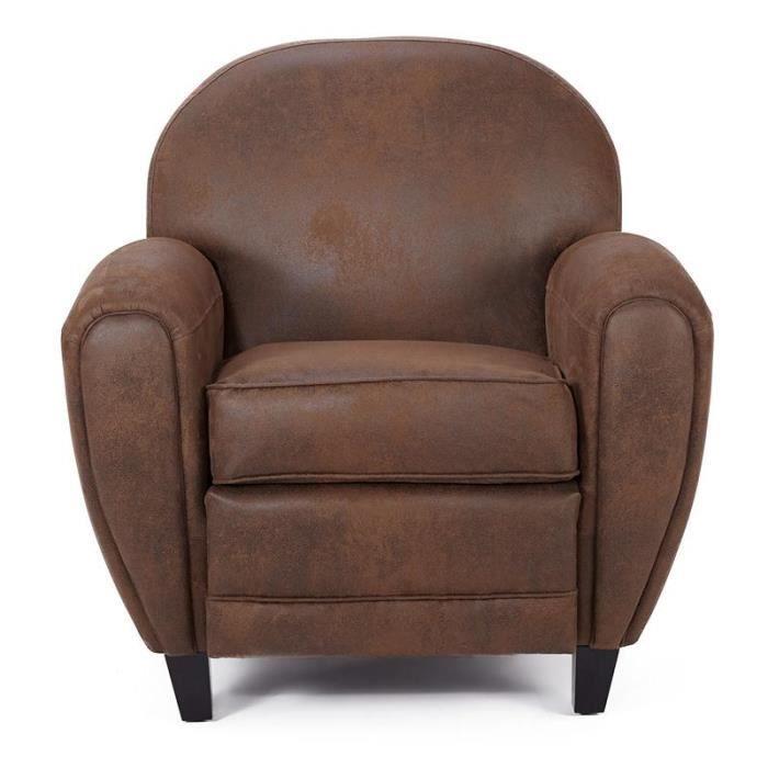 fauteuil club effet vieilli marron vintage achat vente fauteuil marron cdiscount. Black Bedroom Furniture Sets. Home Design Ideas