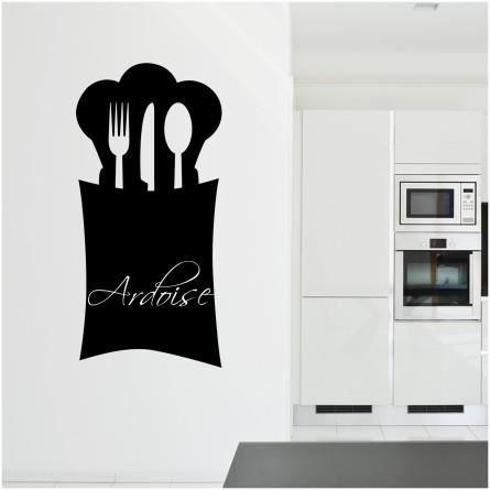 Stickers ardoise cuisine couverts ecrivez avec une craie - Tableau ardoise pour cuisine ...