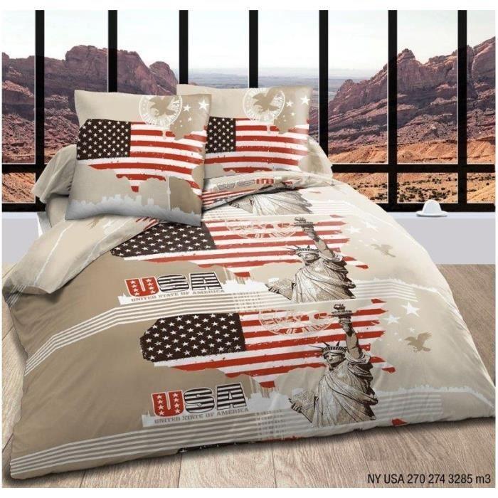 parure de couette 3 pi ces new york taupe 100 coton 57. Black Bedroom Furniture Sets. Home Design Ideas