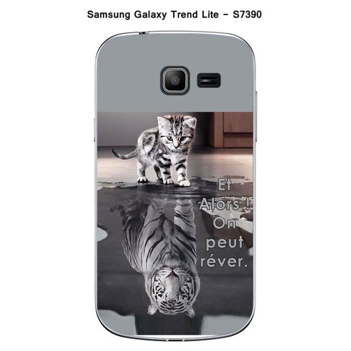 coque samsung galaxy trend lite s7390 design chat tigre blanc et alors achat coque bumper. Black Bedroom Furniture Sets. Home Design Ideas