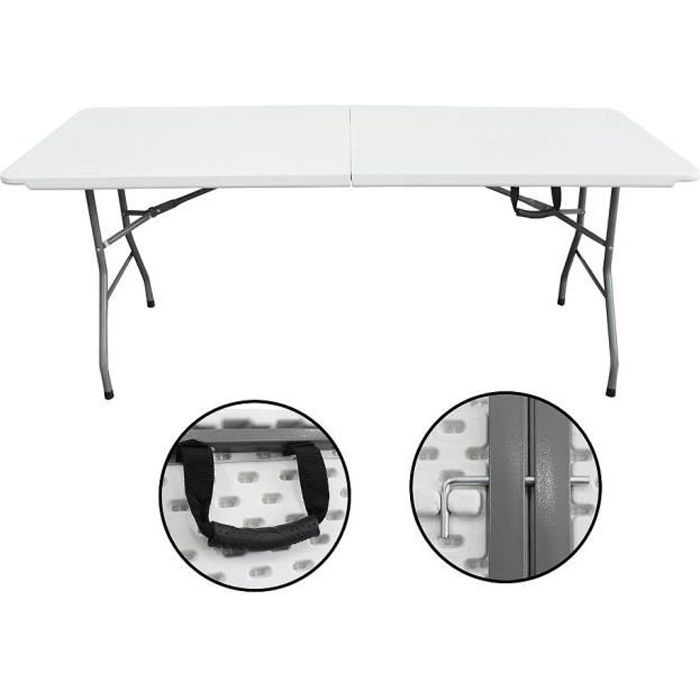 Table traiteur pliante 183 cm avec poign e prix pas cher for Meuble avec table pliante