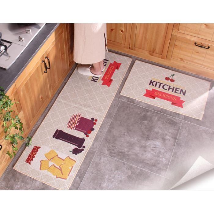 Lot de 2 tapis de cuisine anti d rapant 50 80cm et 50 - Tapis de cuisine casa ...