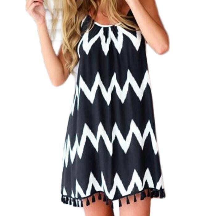 Femmes motif vague robe ample robe de plage robe bretelles harnais comme image achat vente - Habit de plage ...