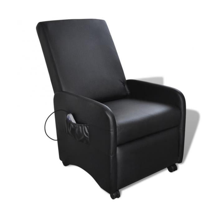 Superbe fauteuil massant inclinable et pliable en cuir artificiel noir neuf - Fauteuil massant occasion ...